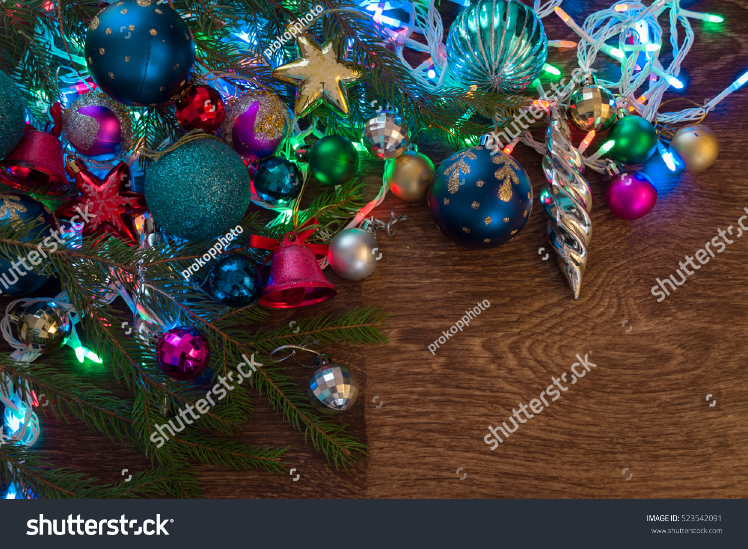Christmas decorations garland tree branch on
