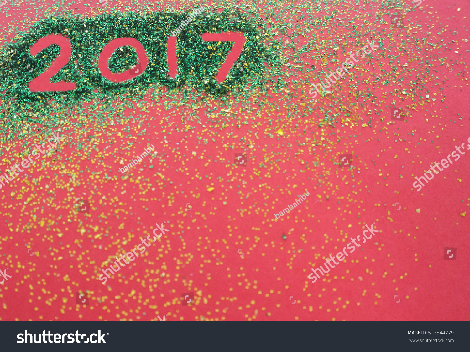 create merry christmas and happy new year card on red background copy space