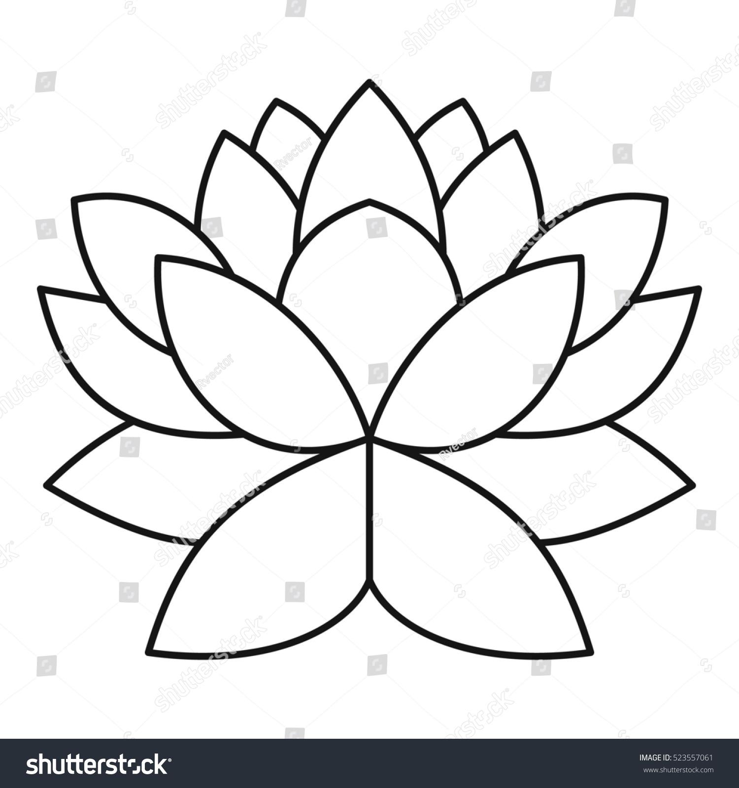 Lotus Flower Icon Outline Illustration Lotus Stock Illustration