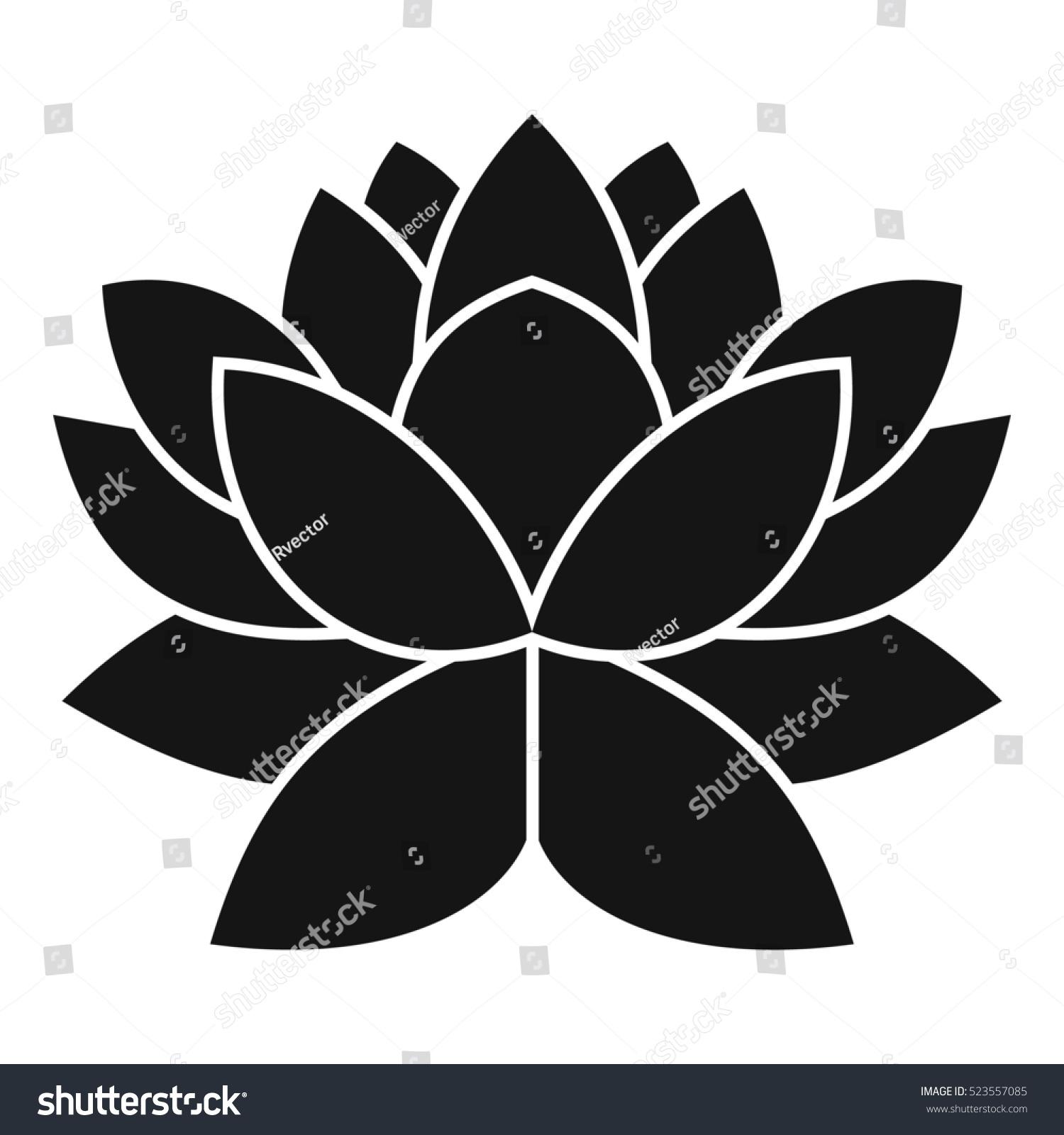 Lotus Flower Icon Simple Illustration Lotus Stock Illustration