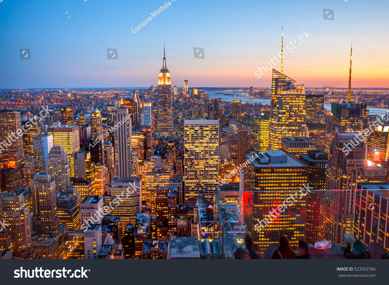 New York City skyline at sunset USA