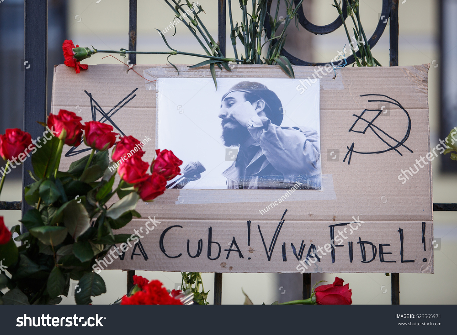 MOSCOW 27 NOVEMBER 2016 Memorial with flowers at embassy of Republic Cuba.People mourn over death of Cuban President Fidel Castro.Funeral of nationalist Communist politician and revolutionary