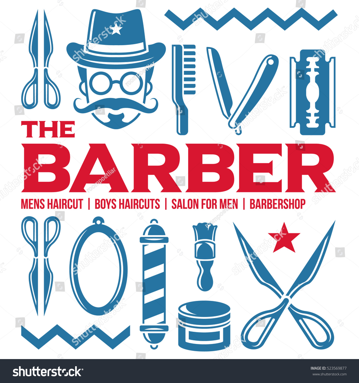 Clip art vector of vintage barber shop logo graphics and icon vector - Vector Set Of Vintage Barber Shop Logo Graphics And Icons Isolated Artwork Object Suitable