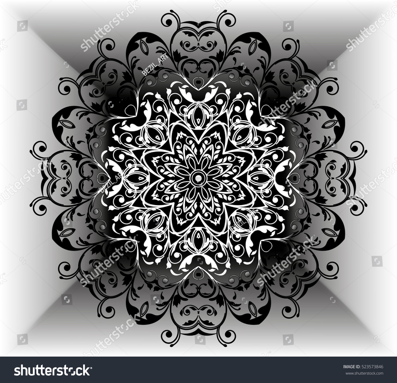 mandala motif flower pattern black white stock vector 523573846 shutterstock. Black Bedroom Furniture Sets. Home Design Ideas