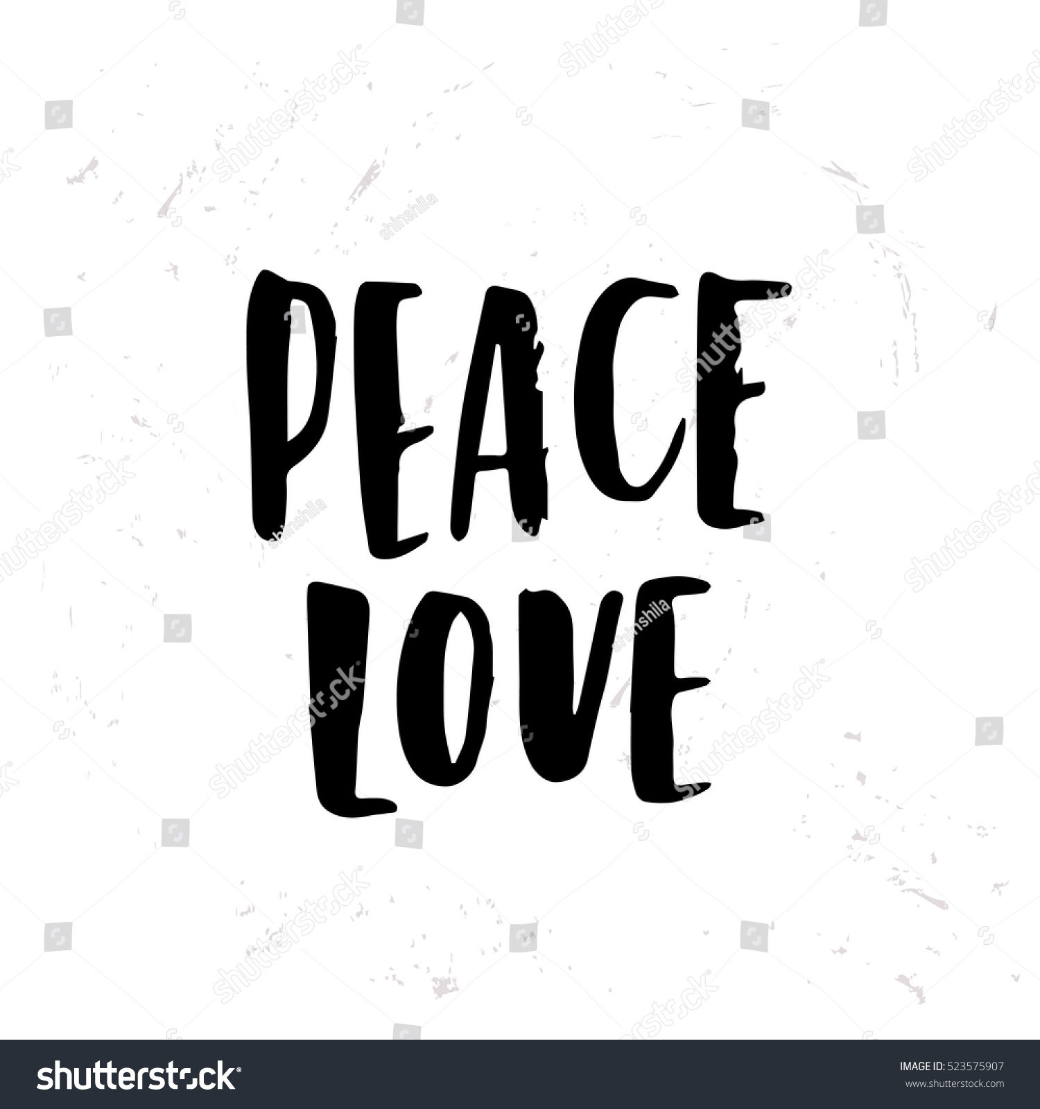 Peace Love Quotes Hand Drawn Calligraphy Lettering Inspirational Quotes Stock Vector