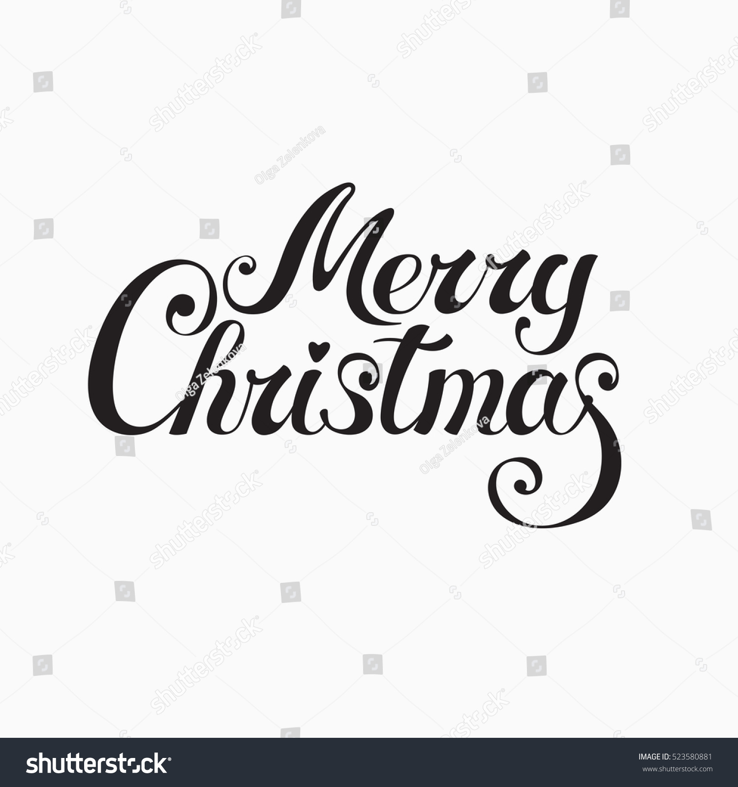 merry christmas handwritten vector lettering for card banner poster label