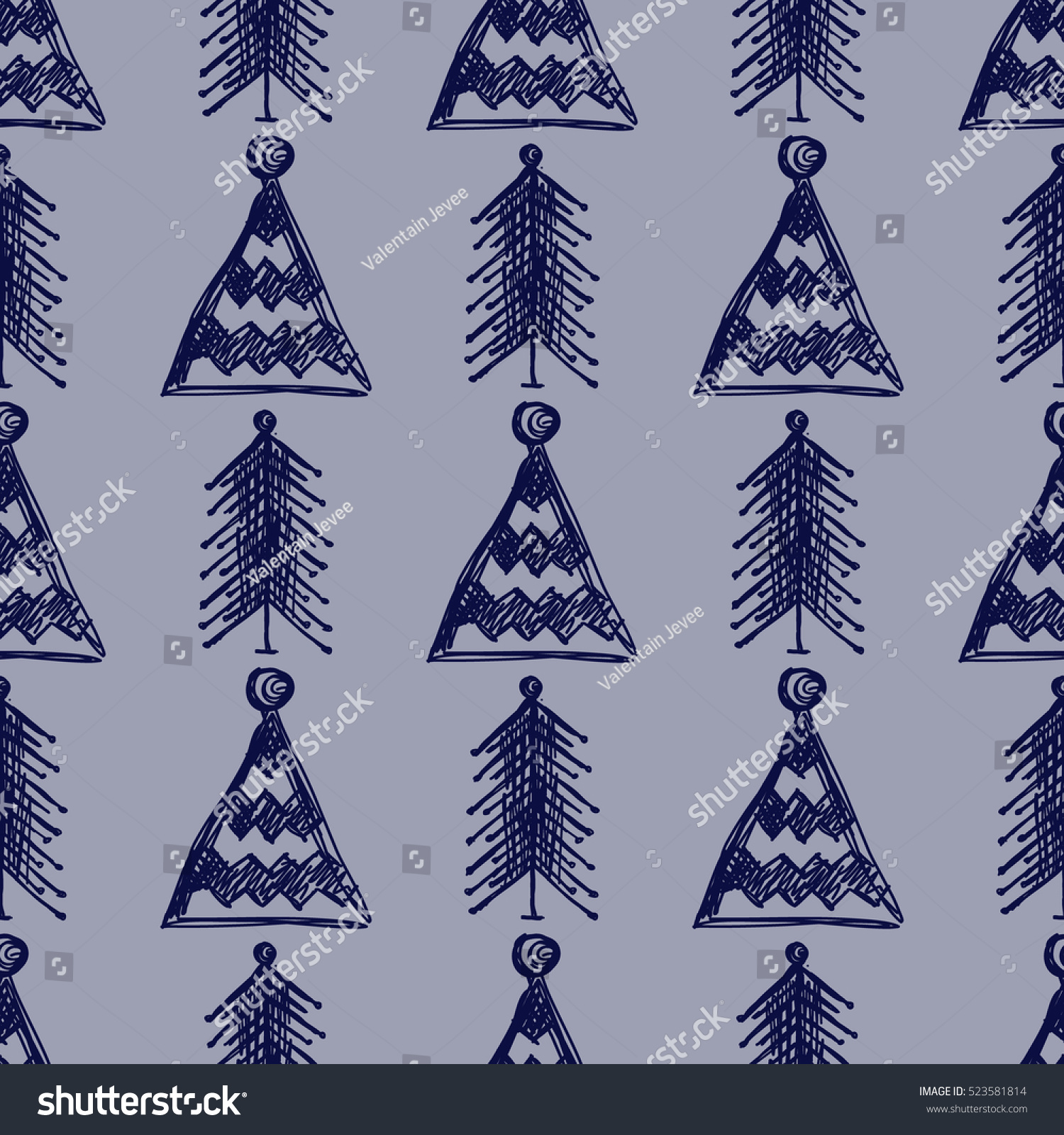 Seamless fir tree scandinavian pattern textile background wrapping - Seamless Vector Pattern With Fir Trees Blue Seasonal Winter Background With Cute Hand Drawn