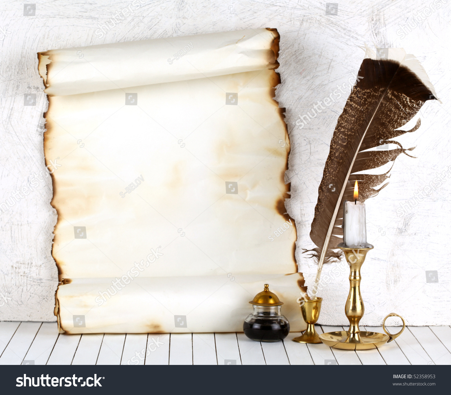 Old Paper Candle Quill Pen White Stock Photo 52358953 ...