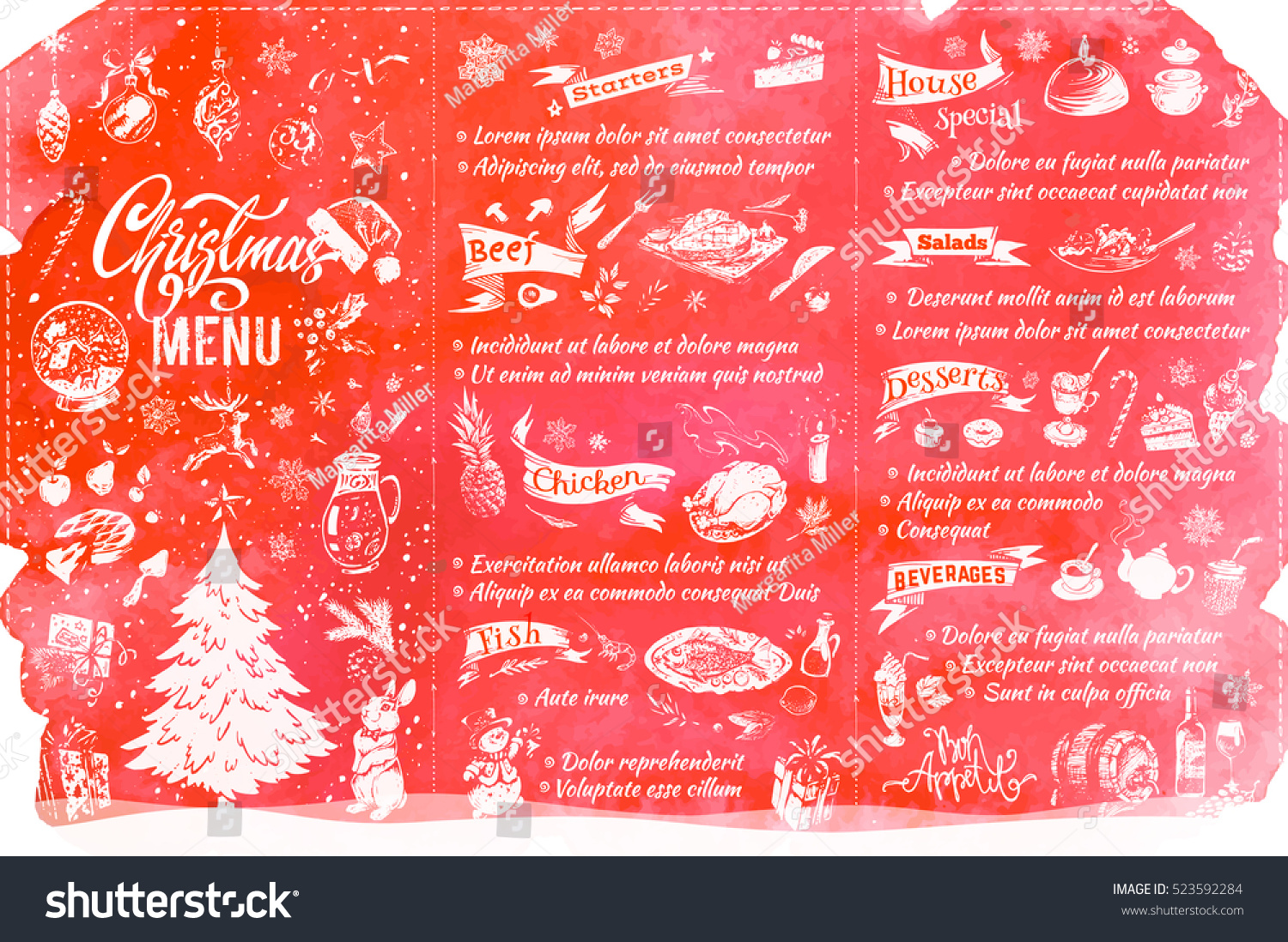 Christmas Menu Template Sketch Food Drinks Stock Vector Royalty