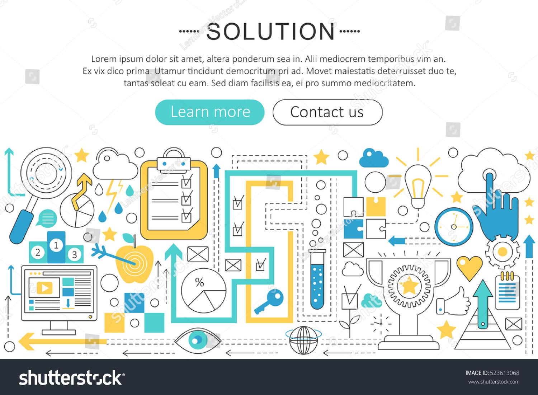 Line Design Solutions : Vector modern line flat design solution stock