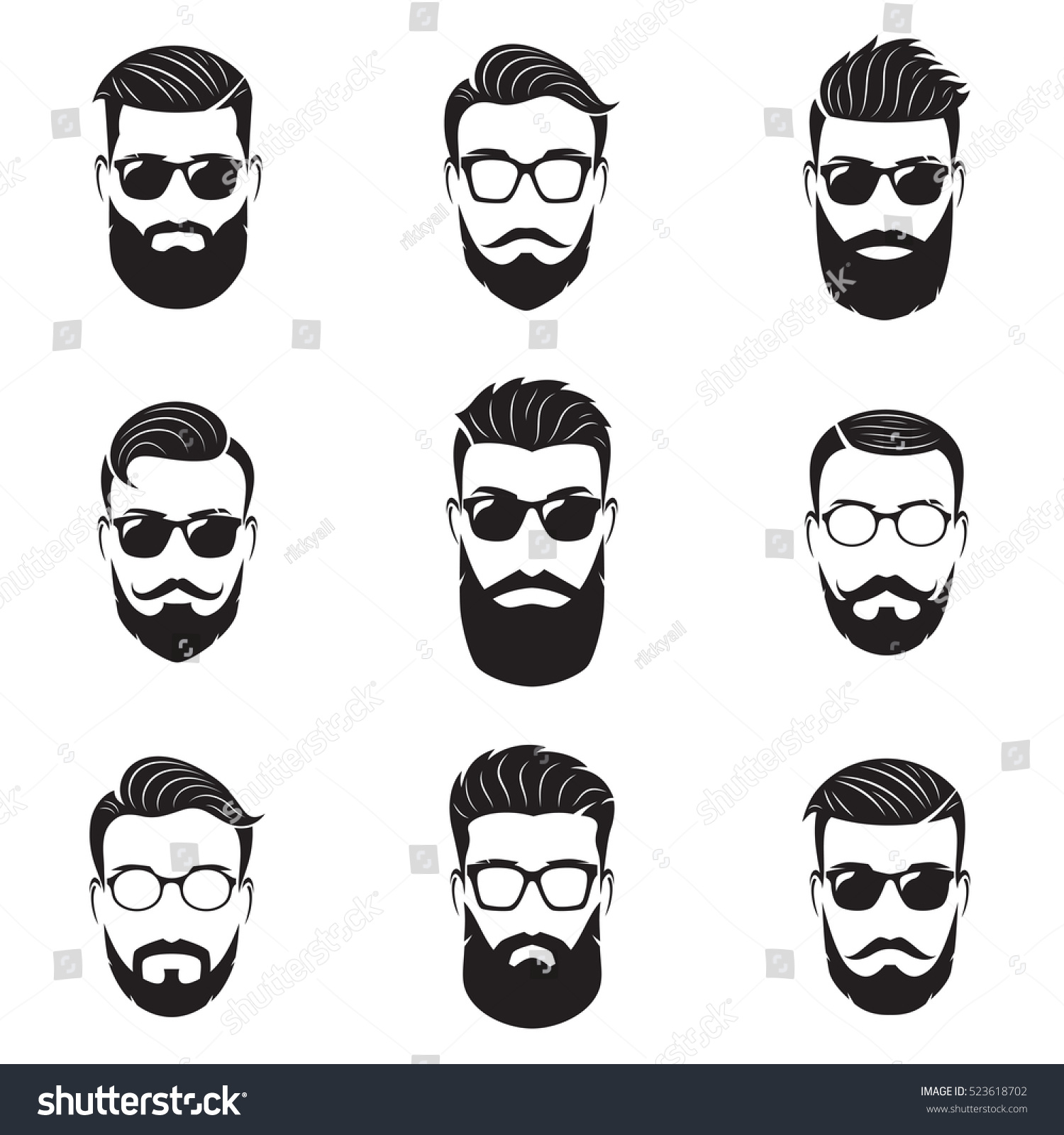 Set Vector Bearded Men Faces Hipsters Stock Vector ...