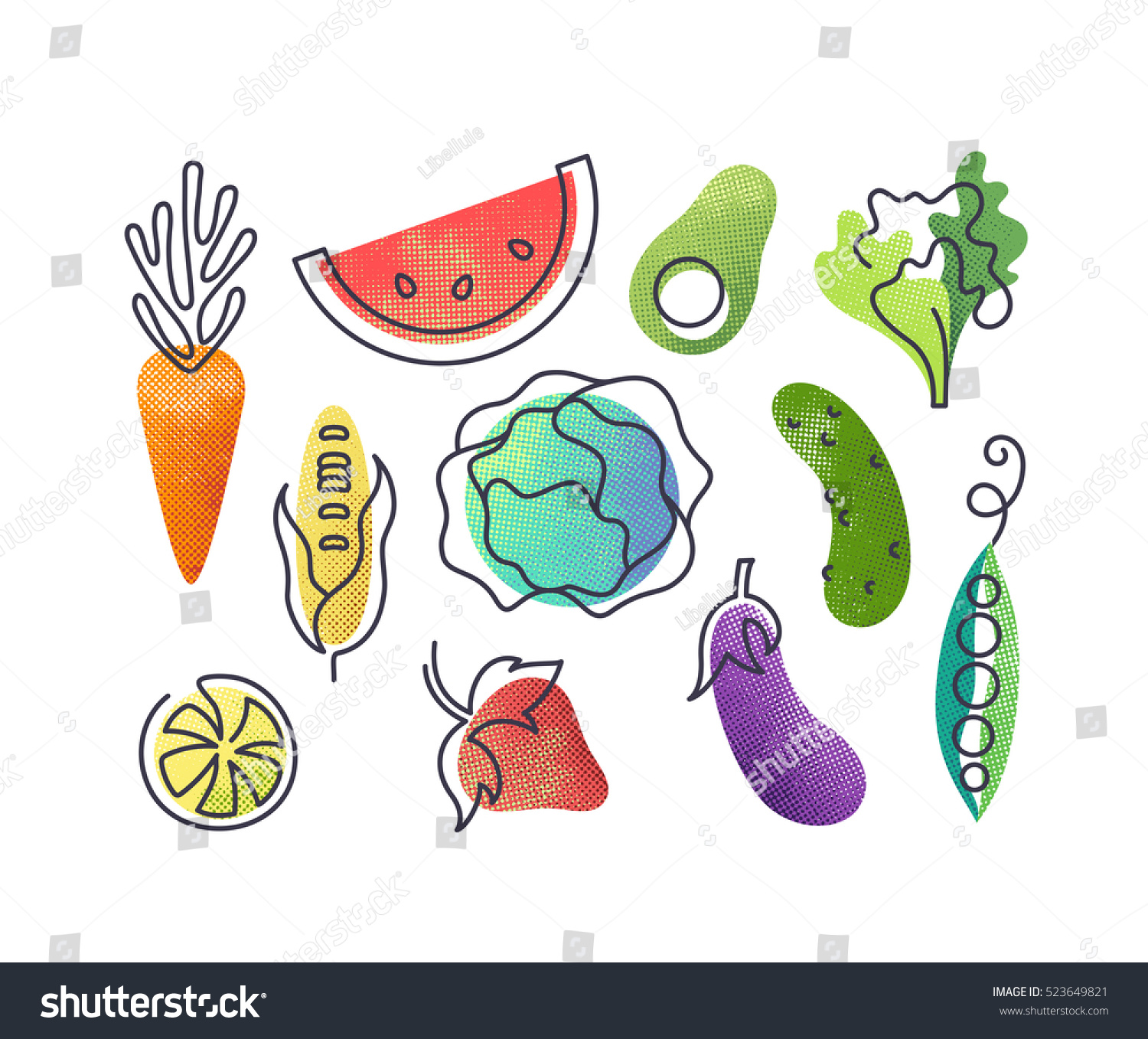 Colorful vector icons' set of fruits and vegetables. Isolated creative design healthy life objects. Vegetarian and vegan food halftone textured and monoline symbols' pack, no gradients #523649821