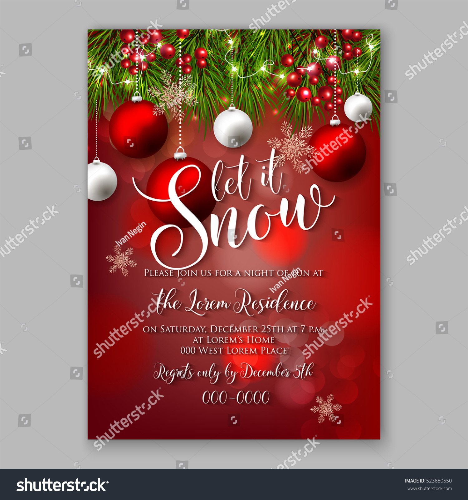 Let Snow Christmas Party Invitation Poster Stock Photo (Photo ...