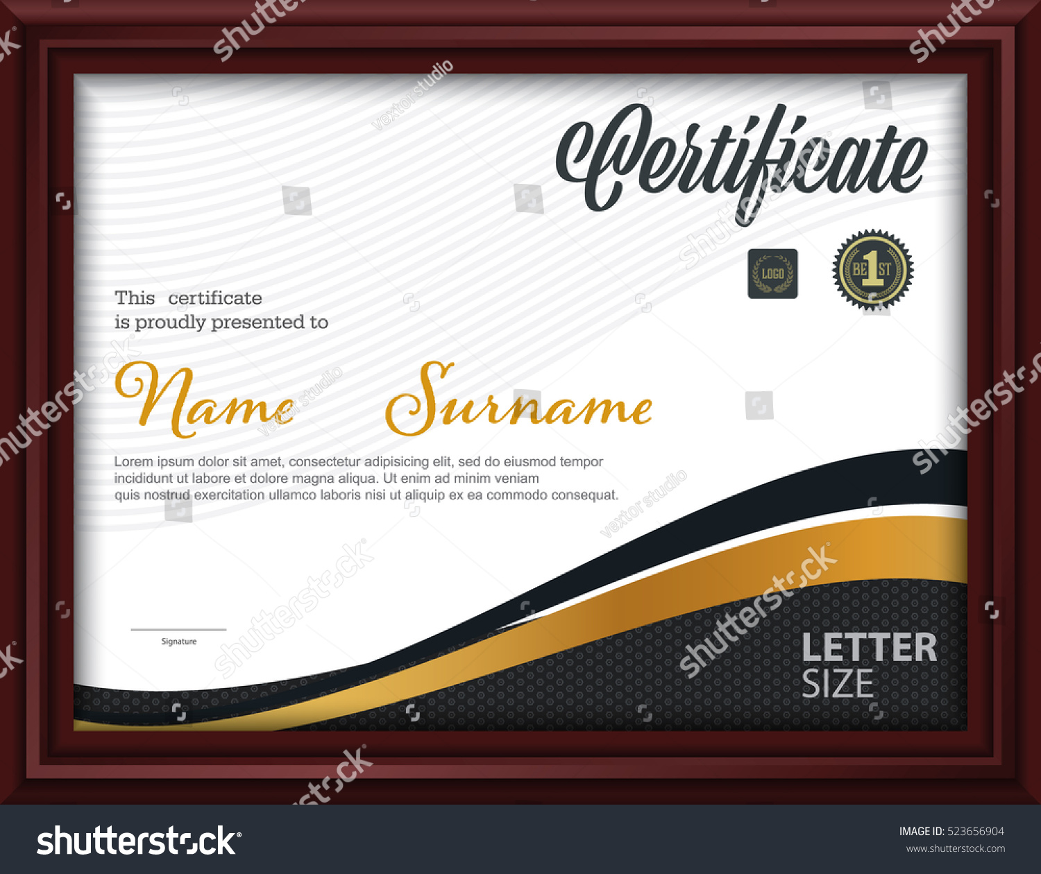 Certificate templateletter size diploma vector illustration stock certificate templateletter size diploma vector illustration yadclub Gallery