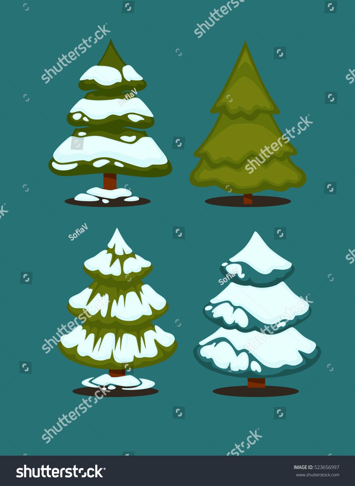 christmas tree set christmas green trees stock vector 523656997