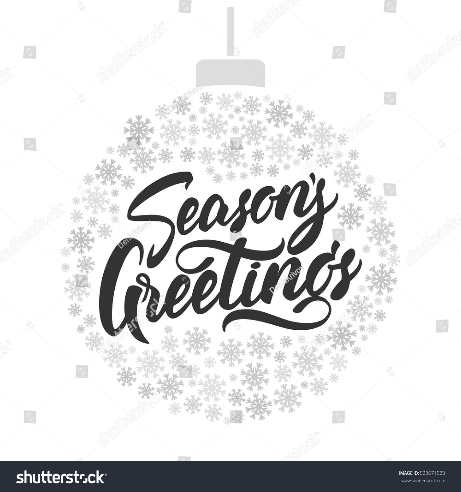vector illustration hand lettering seasons greetings stock vector 523671523