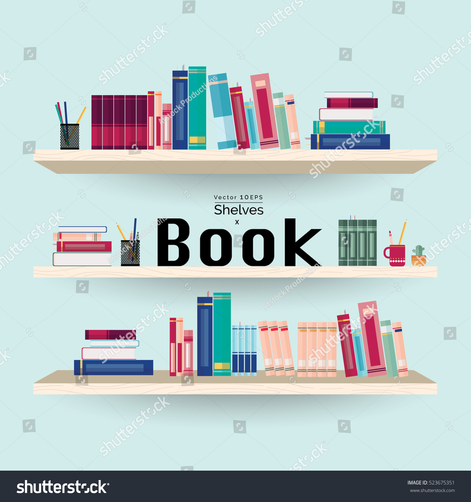 Colorful Book Room: Wooden Bookshelves Colorful Books Stationery On Stock