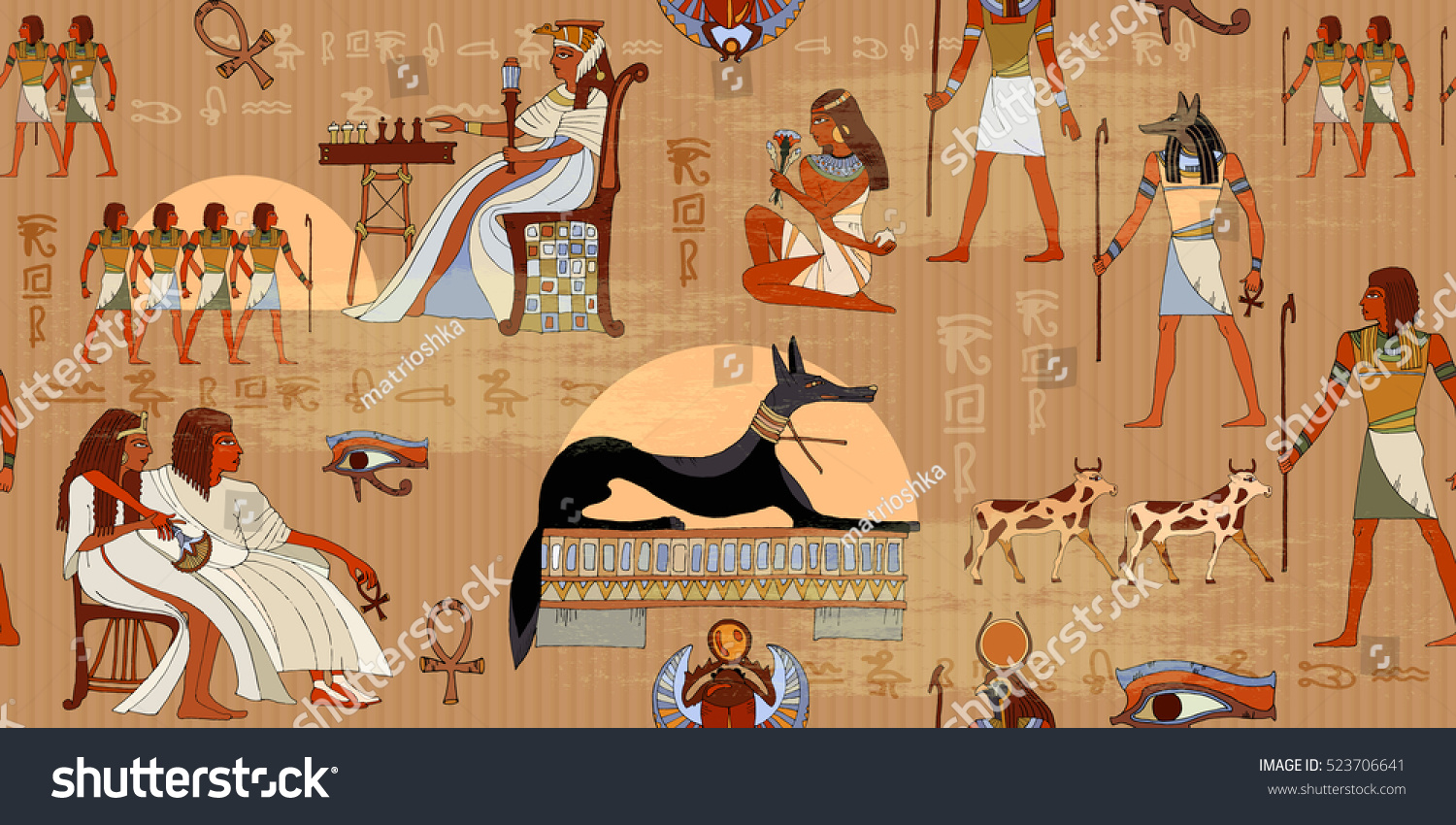 Ancient Egypt Seamless Pattern. Hieroglyphic Carvings On The Exterior Walls  Of An Ancient Egyptian Pattern Part 84
