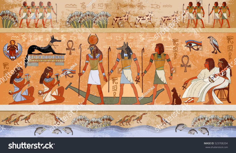 Ancient egypt scene mythology egyptian gods vectores en for Ancient egyptian mural