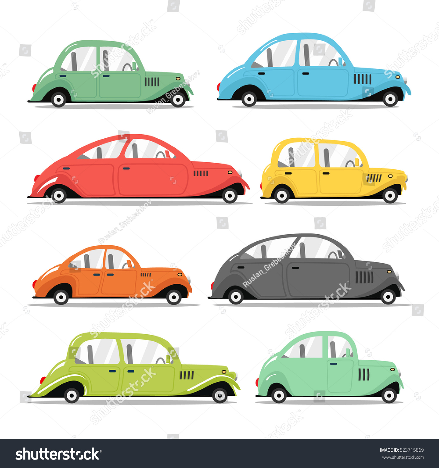 Vector Retro Car Different Types Cars Stock Vector