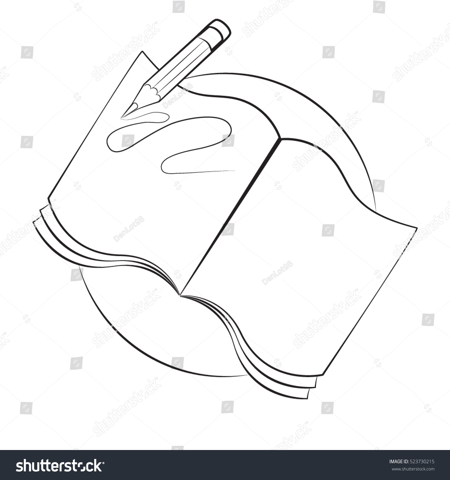 Open books with pencil drawing sketch vector illustration