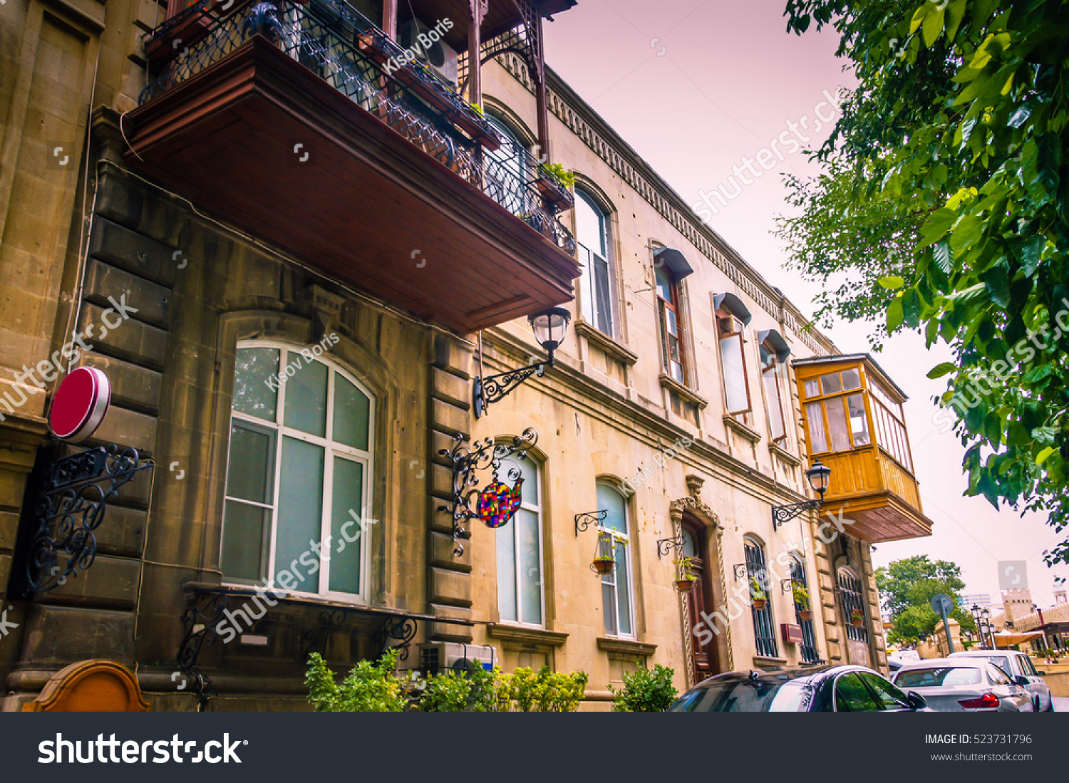 old city street romantic buildings pink stock photo 523731796