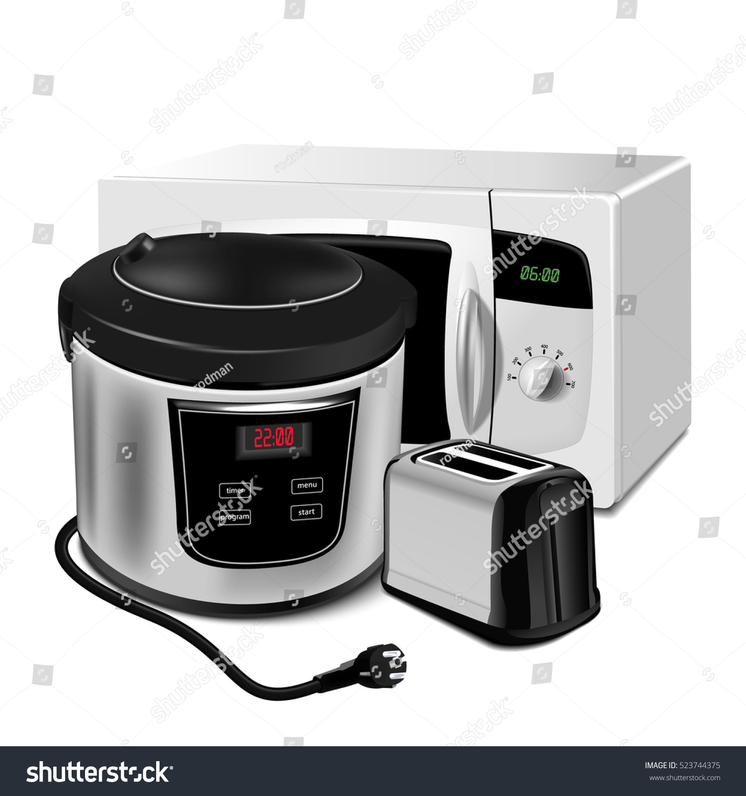 Home Appliances. Set Of Kitchen Equipment On A White Background. There Is A  Microwave