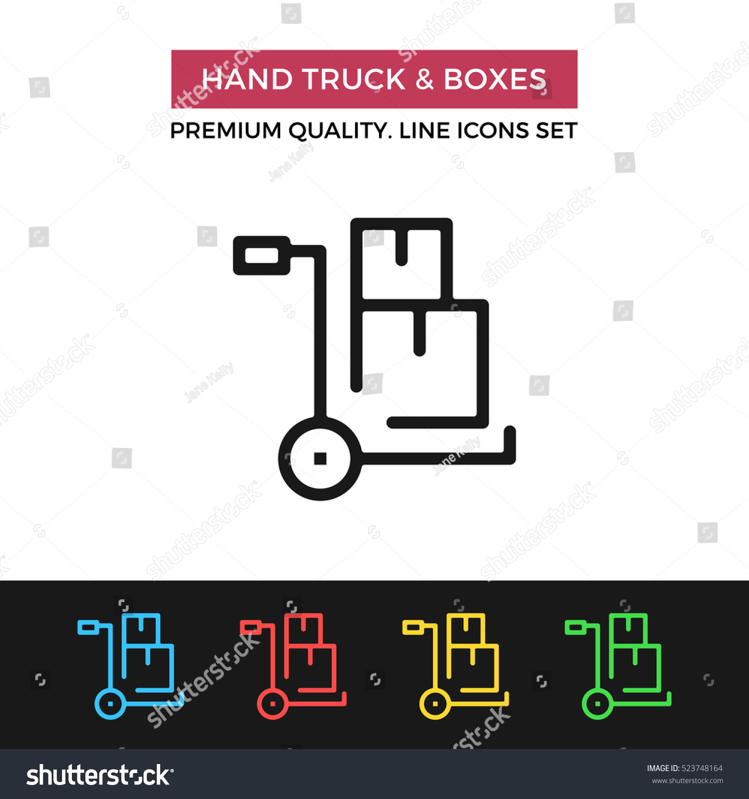 Vector hand truck boxes icon warehouse stock vector for Truck design app