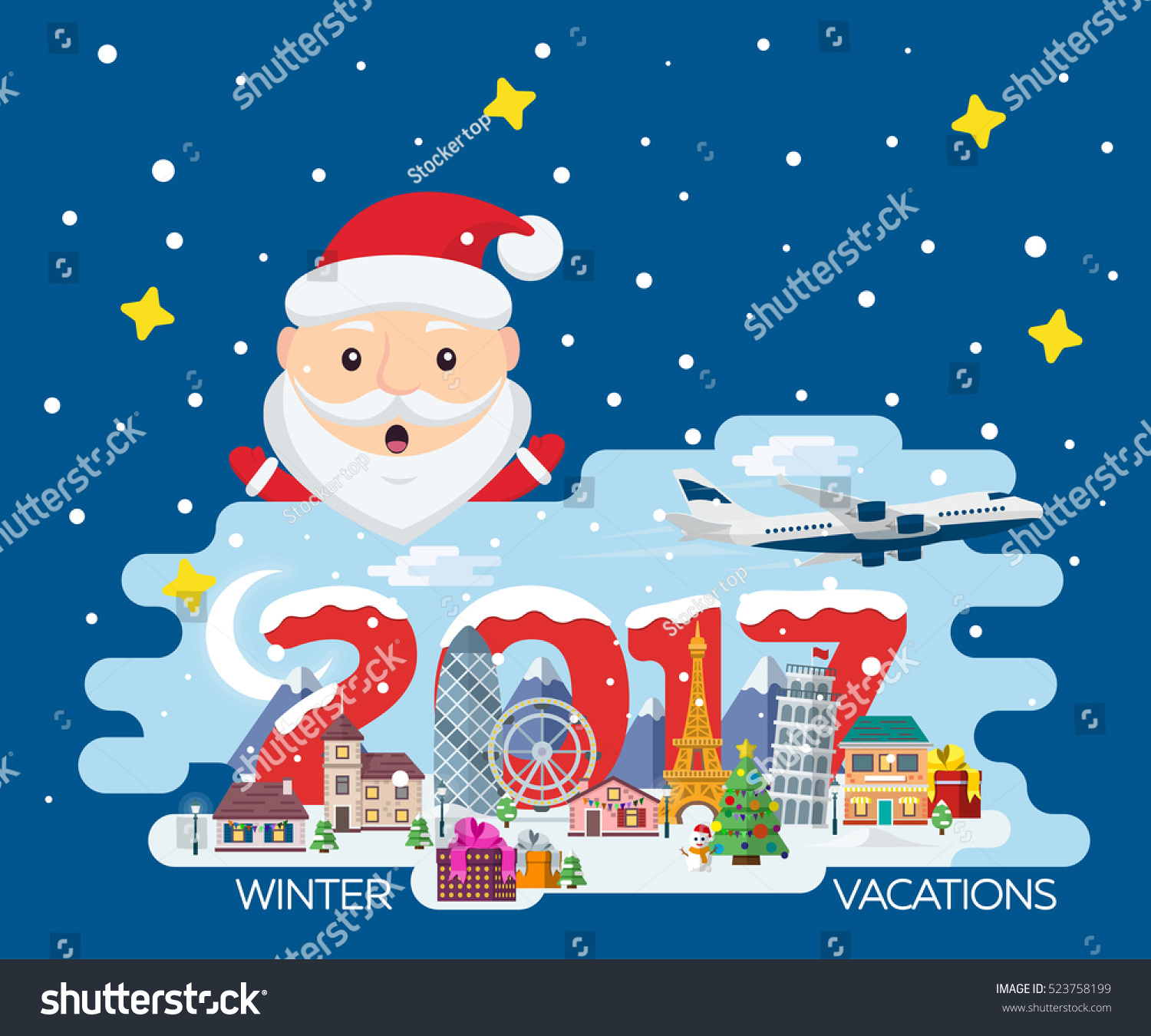 Easy Year To Travel On Christmas: Merry Christmas Banner Flat Style Traveling Stock Vector