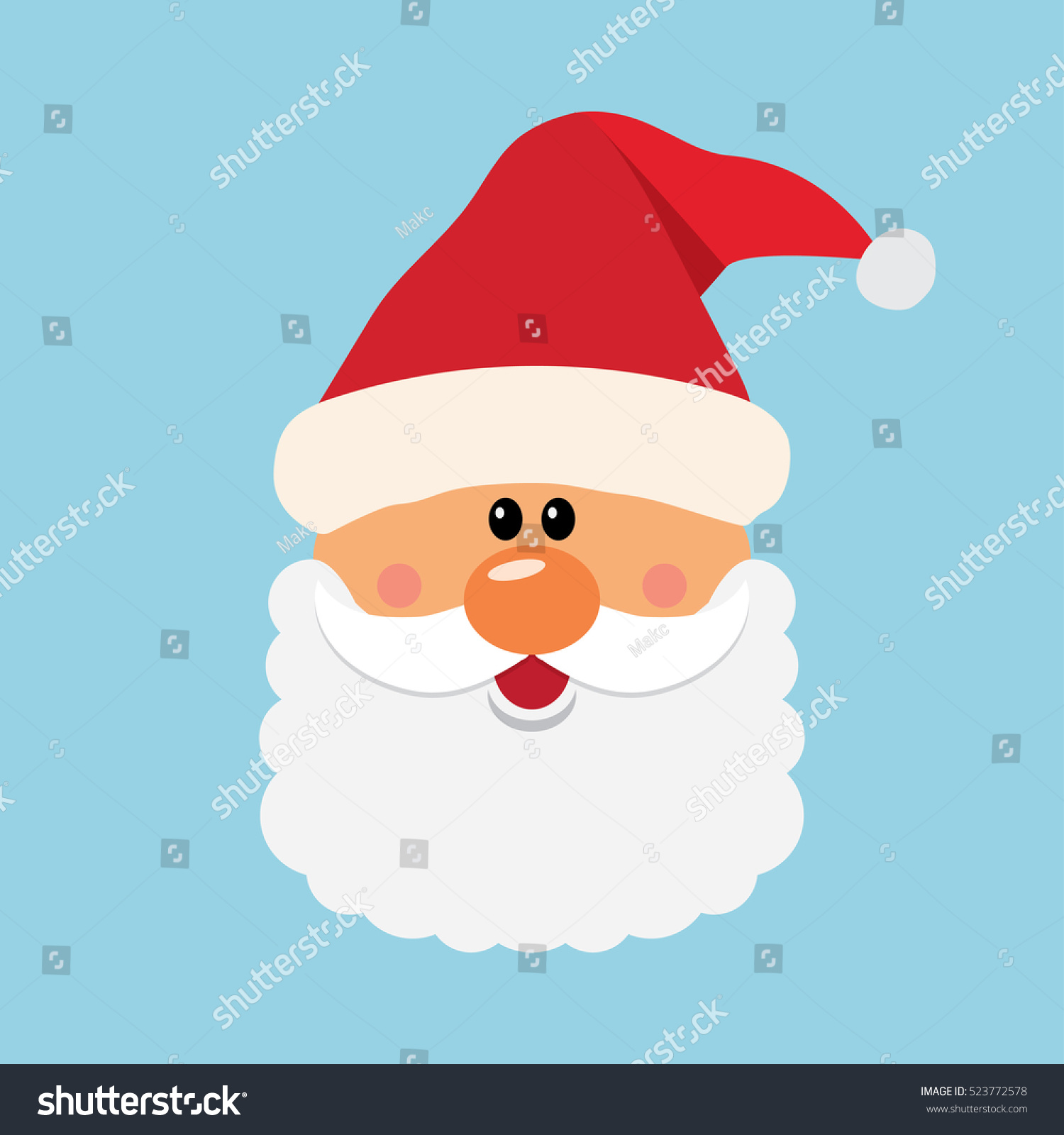 Santa Claus face, icon vector illustration. Christmas card template ...