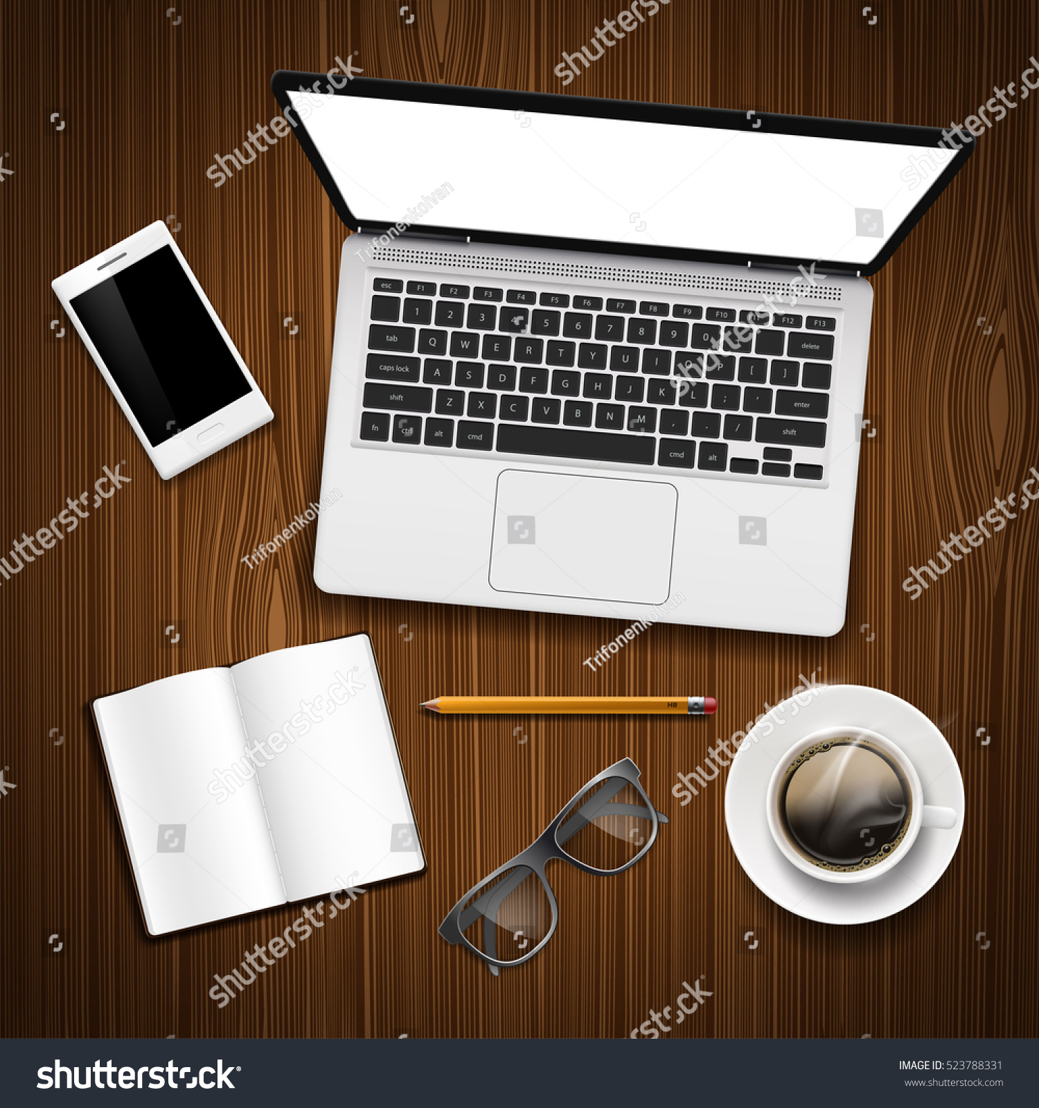 Laptop Blank Screen Smartphone Cup Coffee Stock Vector