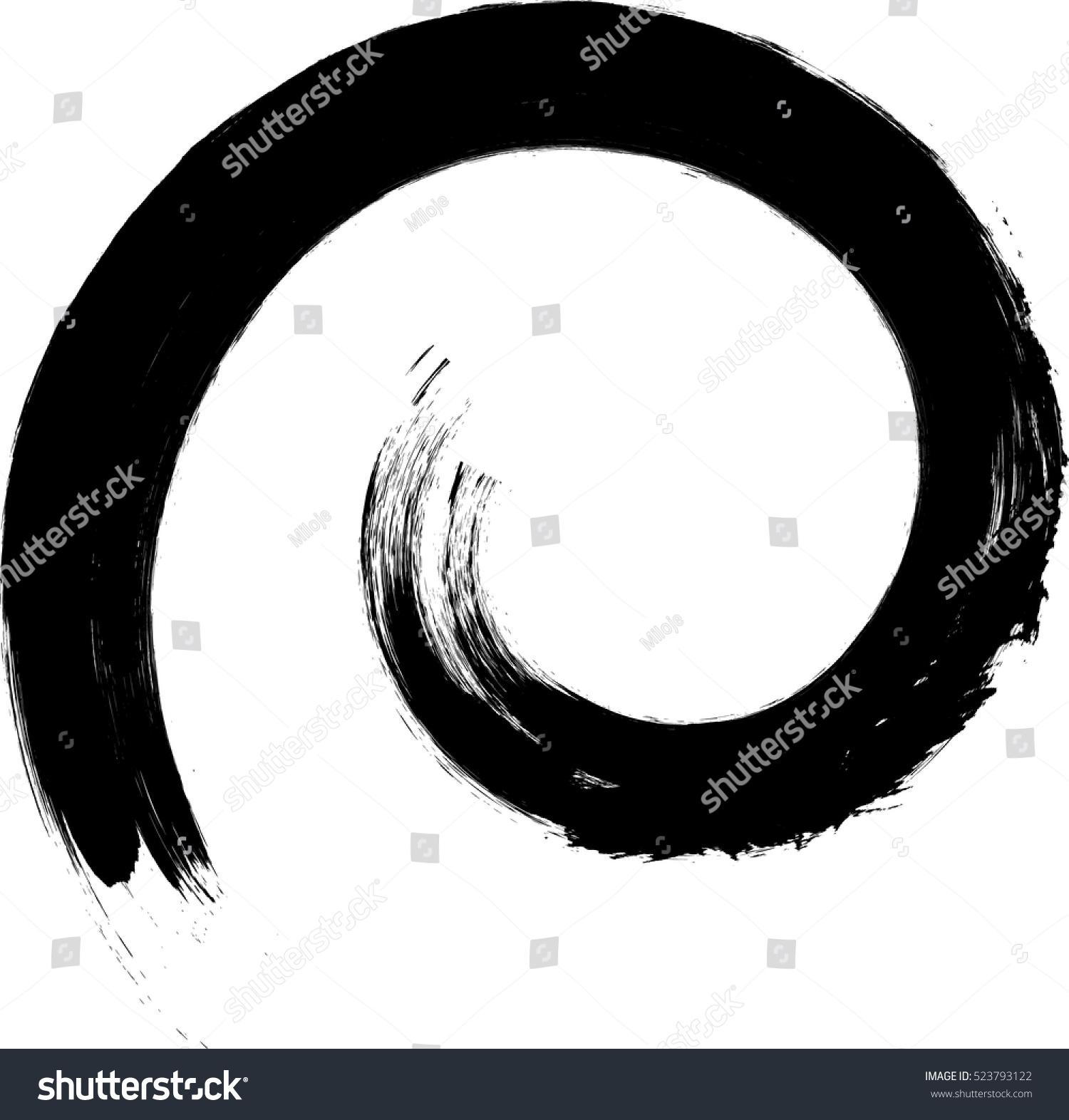 vector spiral paintbrush grunge black white stock vector