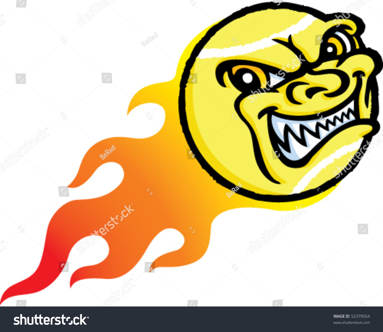 flaming evil tennis ball stock vector 52379554 shutterstock