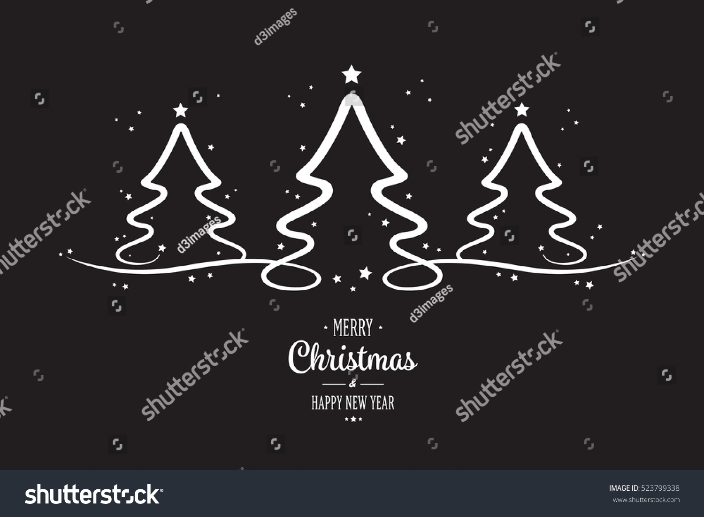 White Christmas Trees Stars Black Background Stock Vector