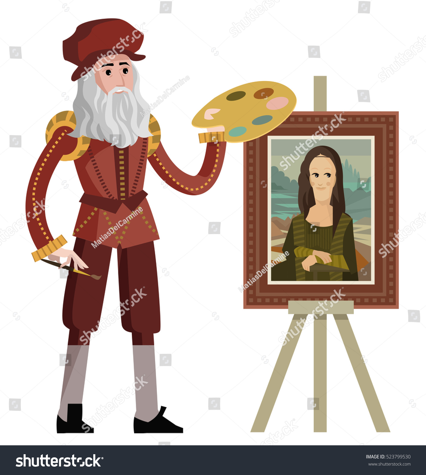 Da vinci painting the mona lisa gioconda stock vector