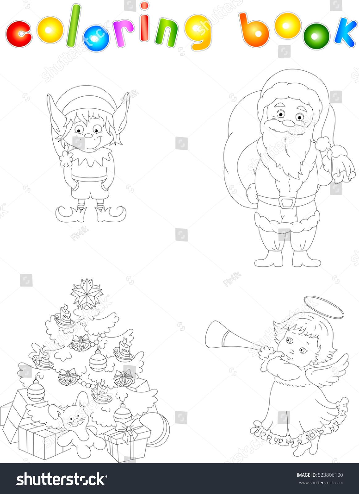 Christmas Elf Santa Angel Tree Coloring Stock Vector 523806100 ...