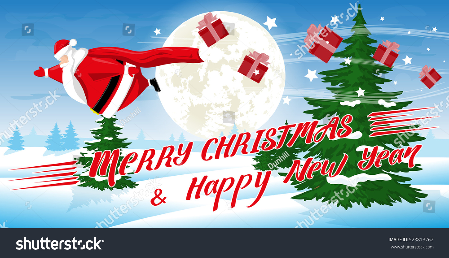 Merry Christmas Happy New Year Landscape Stock Vector (Royalty Free ...