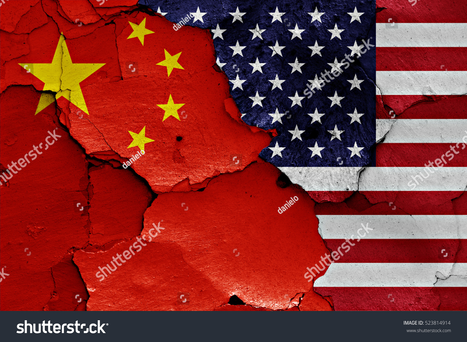 flags china usa painted on cracked stock illustration 523814914