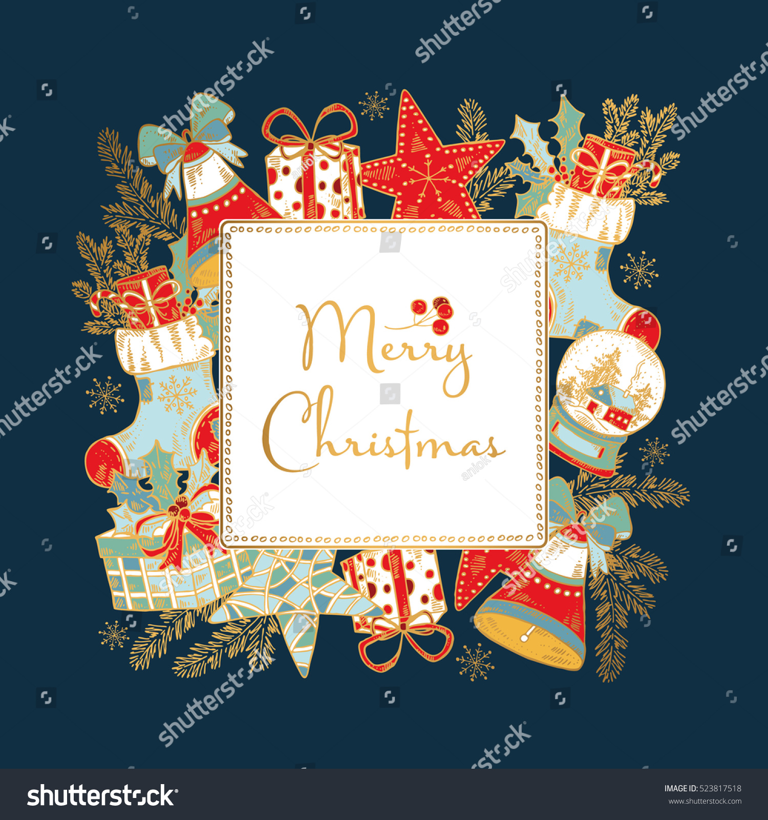 Golden Christmas New Year Card Christmas Stock Vector (Royalty Free ...