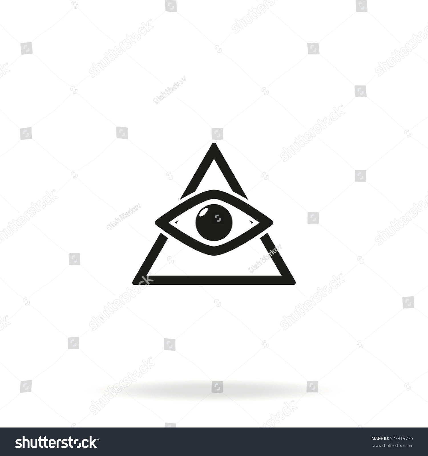 All Seeing Eye Symbol Simple Triangle Stock Vector Royalty Free
