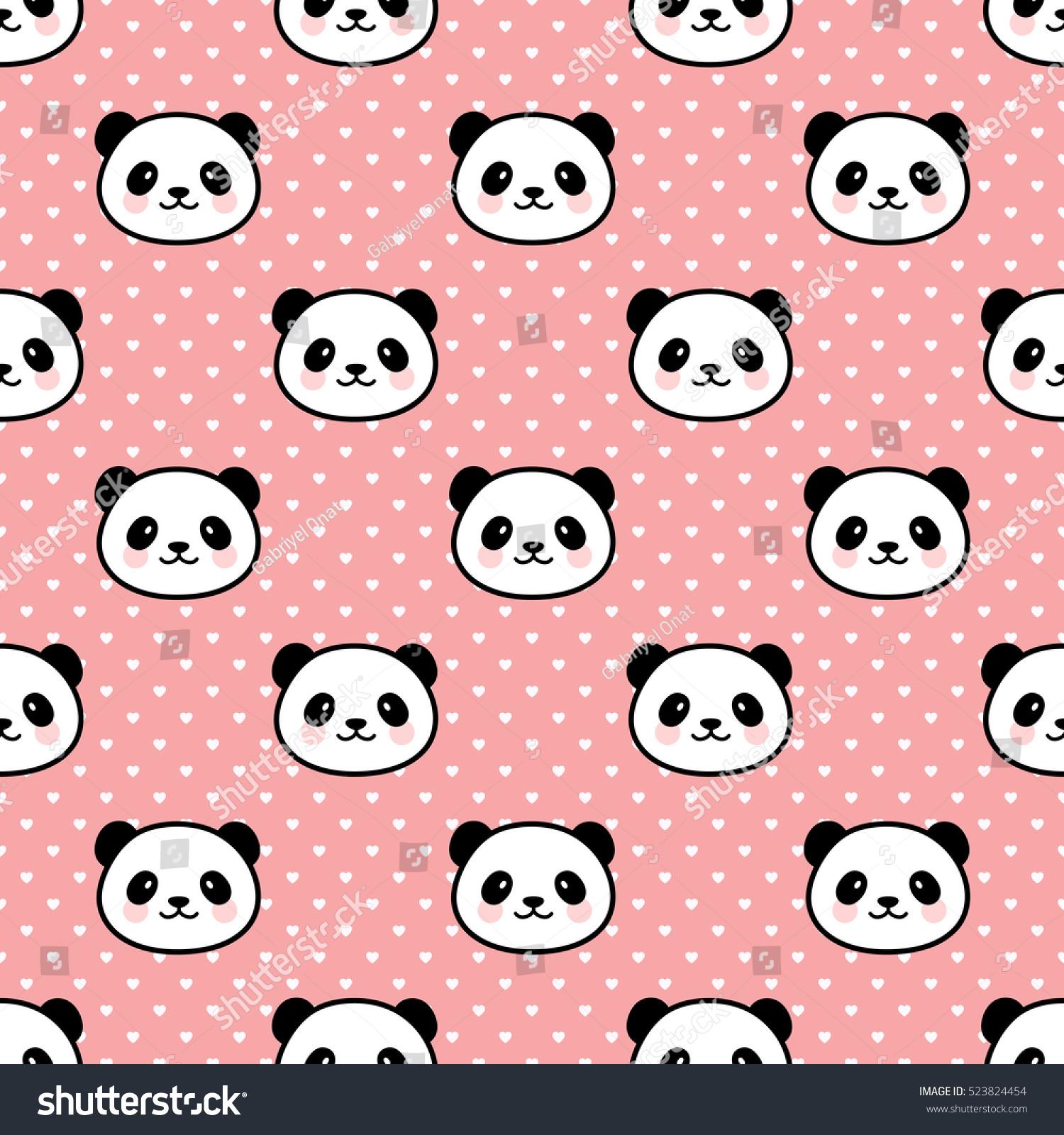 seamless cute cartoon panda pattern vector de stock libre de
