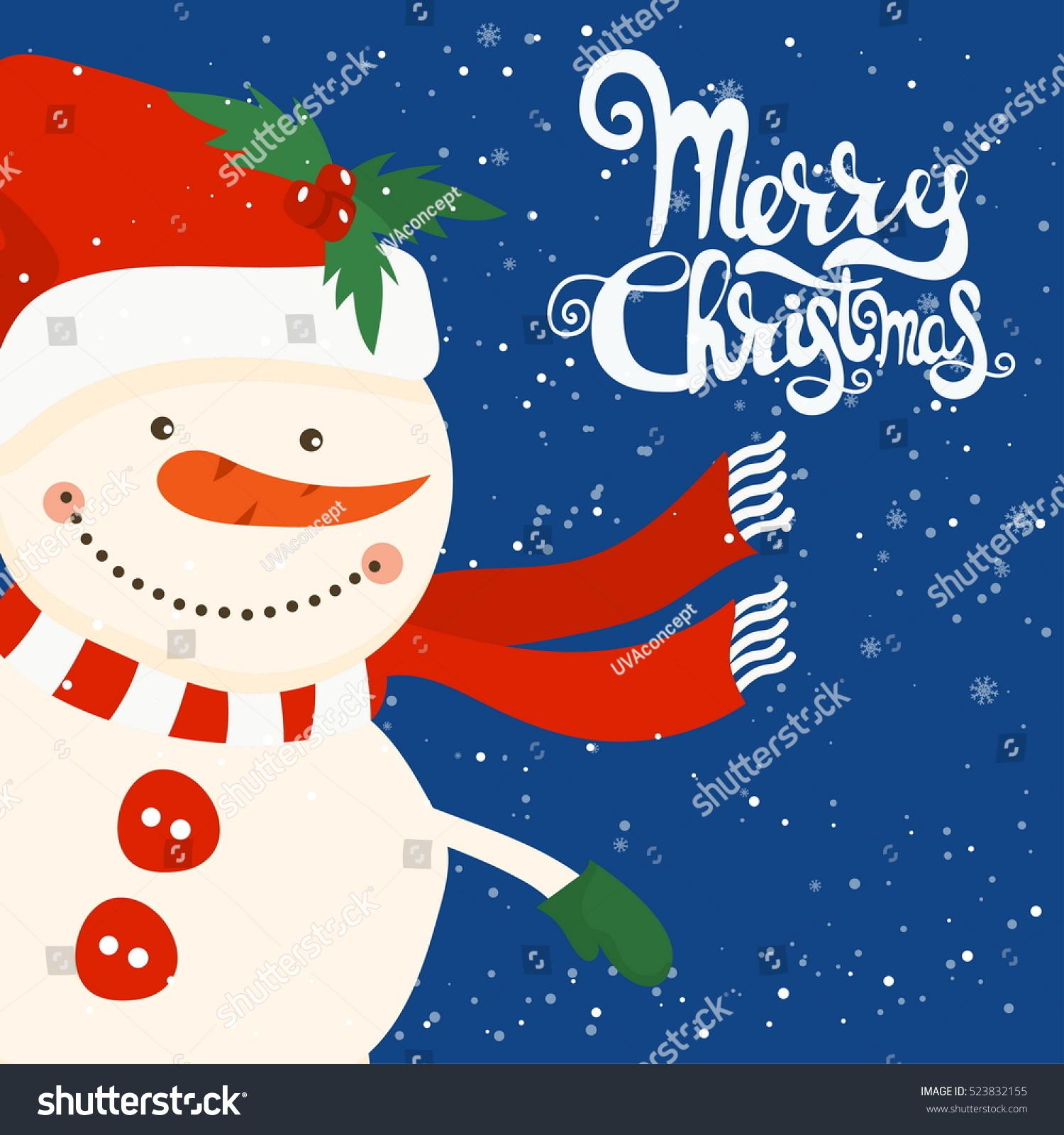 Cartoon Illustration Holiday Theme Snowman Stock Vector