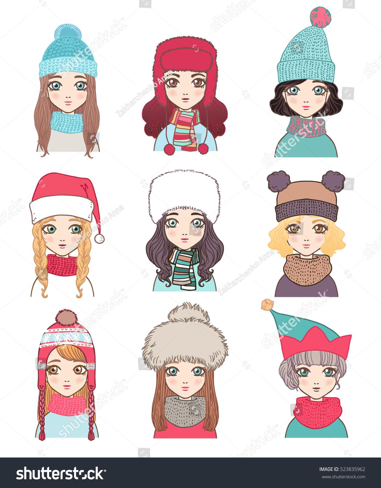 set stylish women characters winter hats stock vector 523835962
