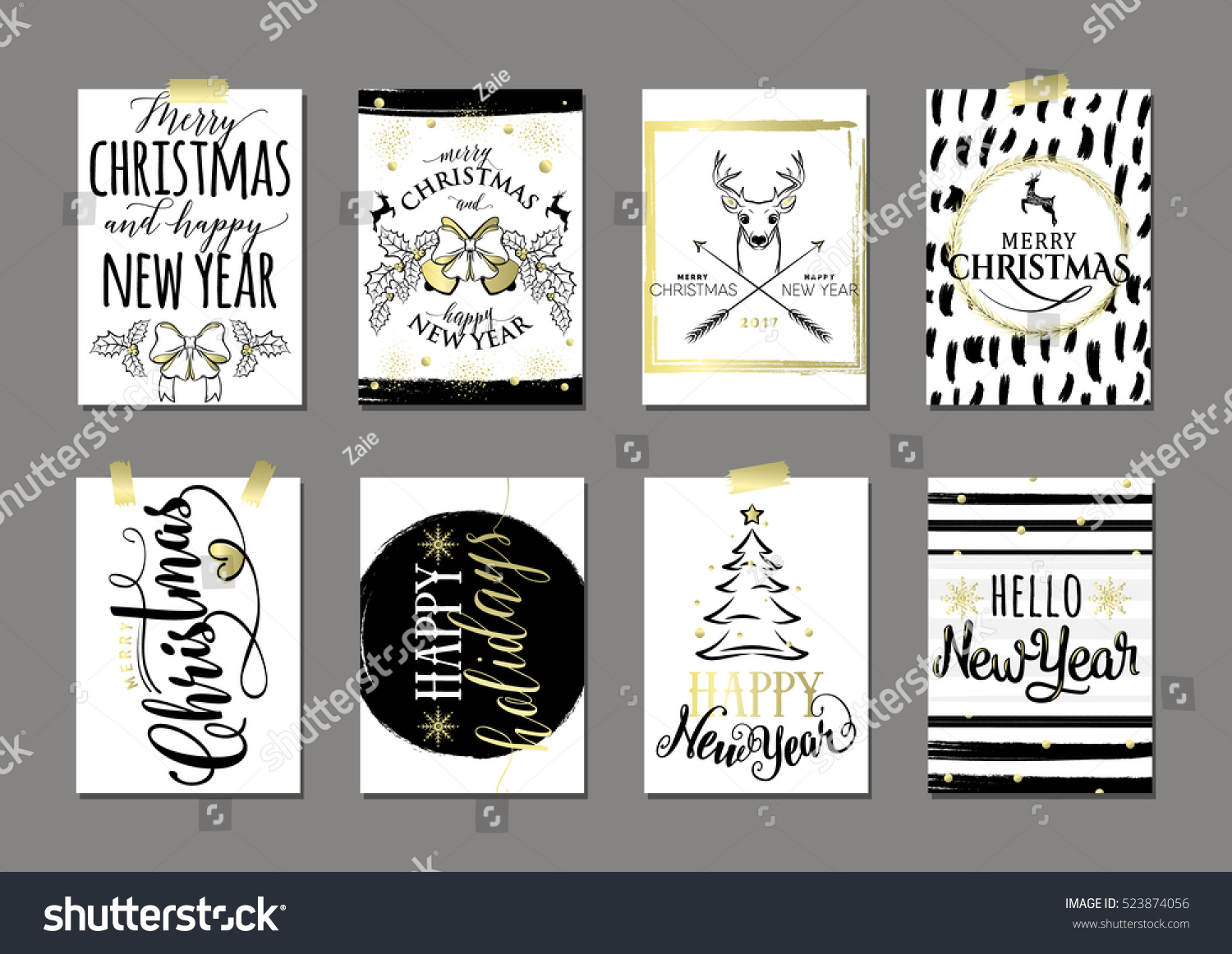 Vector illustration of Merry Christmas and Happy New Year blue ...