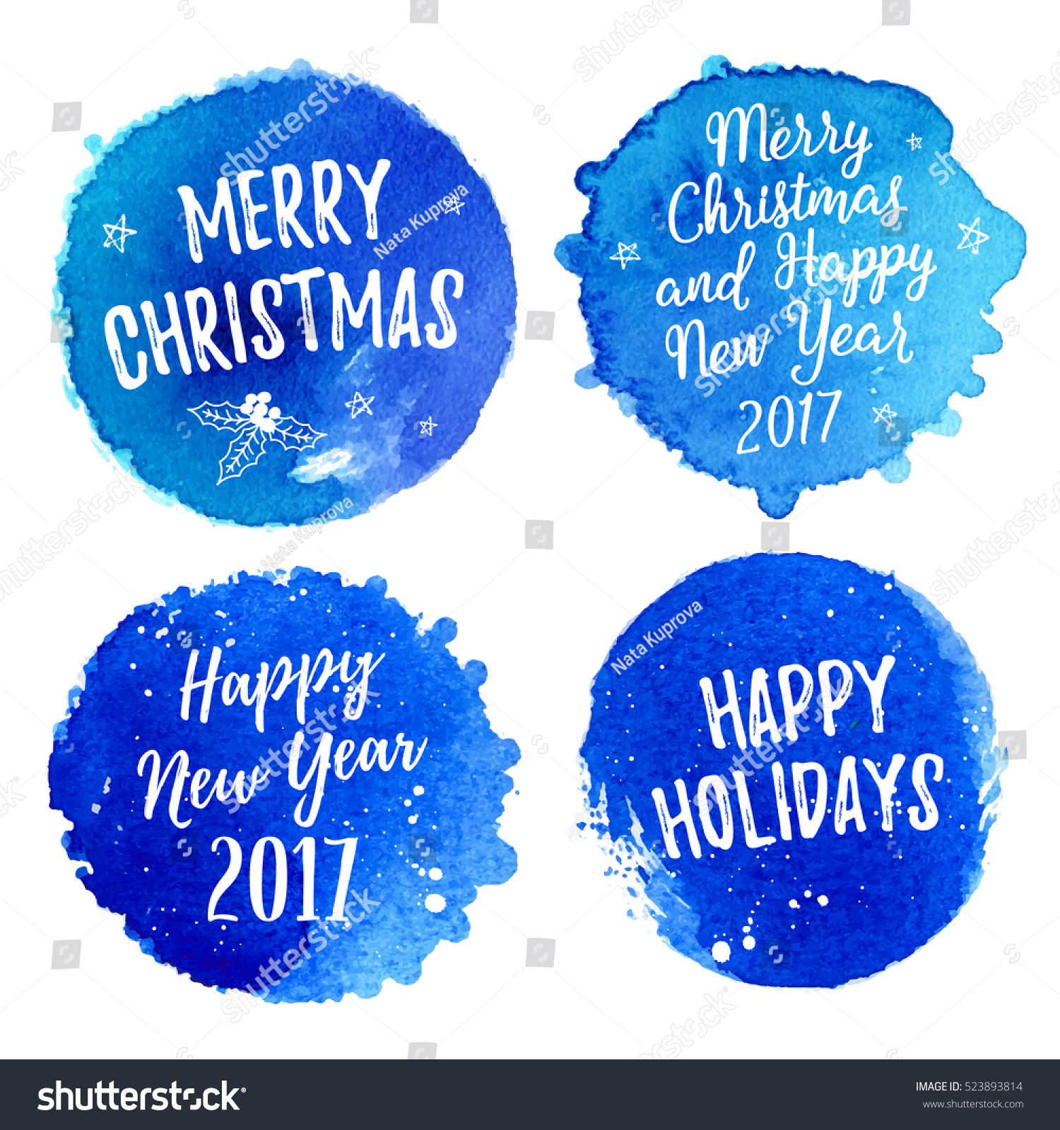 Merry Christmas Happy Holidays Happy New Stock Vector 523893814