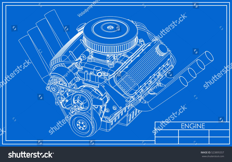 hot rod v8 engine drawing