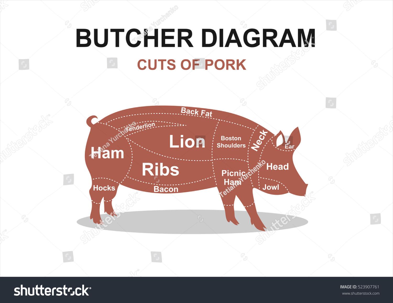Cut Meat Set Poster Butcher Diagram Stock Vector 523907761 ...
