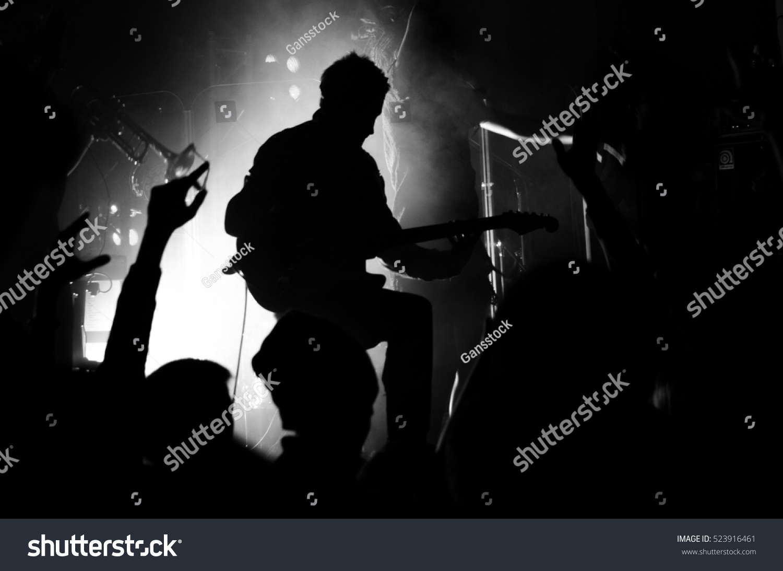 Silhouette Guitarist Man Guitar Concert Glare Stock Photo ...