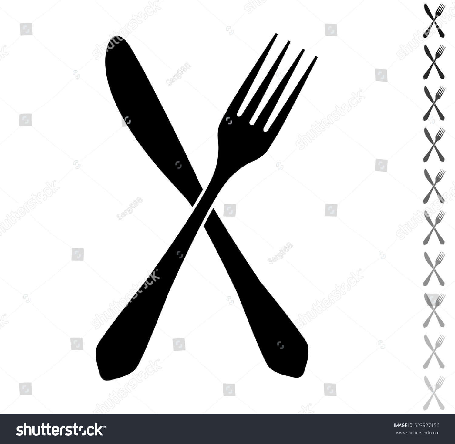 fork knife black vector icon ten stock vector 523927156
