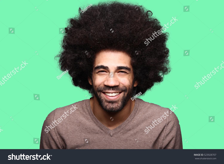 Beautiful Afro Man Front Colored Background Foto de stock (libre de ...